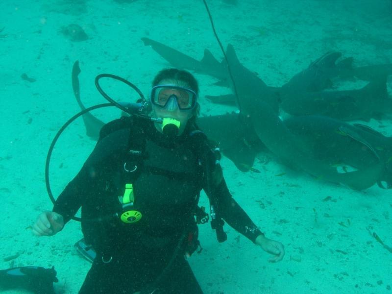 Me with the nurse sharks, Belize Dec 2009