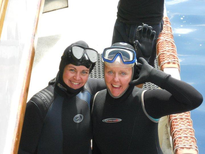 Me and Karen Allgrove getting ready to go down in the deep cage
