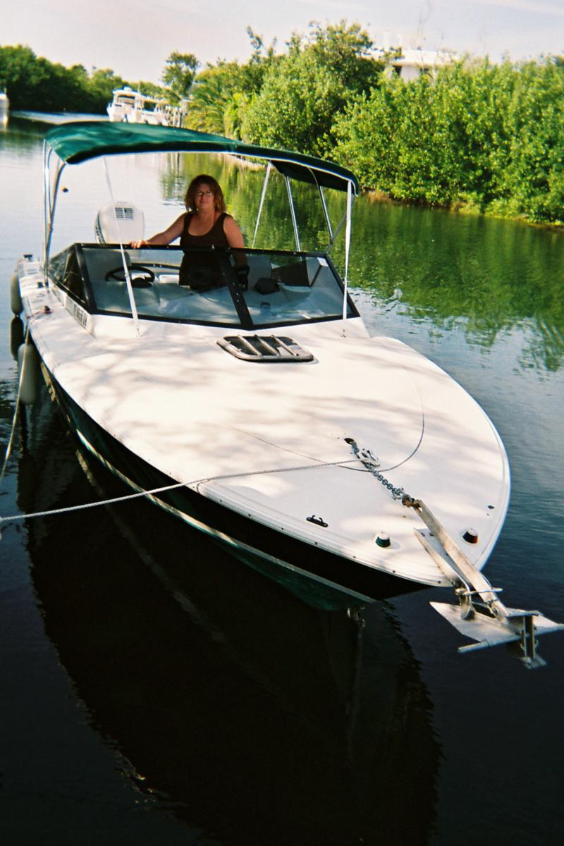 Jennifer hooking up the GPS before heading out in the florida keys...
