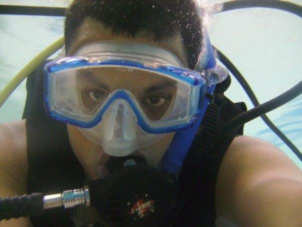 Me underwater at Friends Select in my trunks after I removed my wetsuit since I was getting hot.