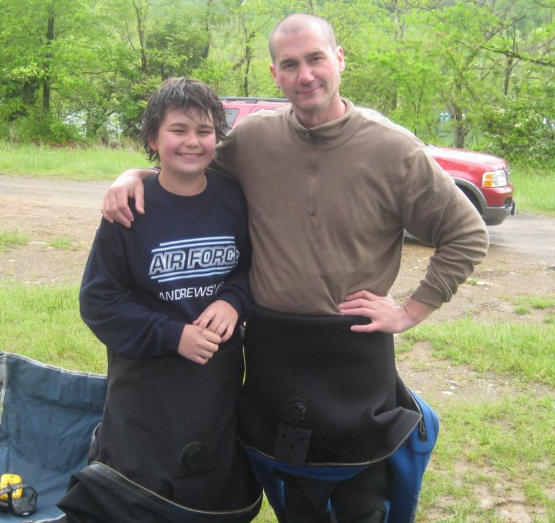 Austin and Kevin after completing Austin's drysuit certification