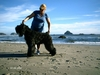 On the beach in Bandon, OR with my dog Fergus