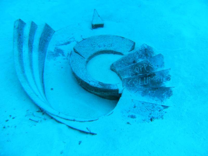Columbus Monument underwater in San Salvador, Bahamas