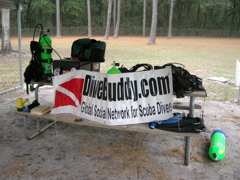 Dive Buddy sign guarding our equipment during surface interval at Blue Grotto in FL.