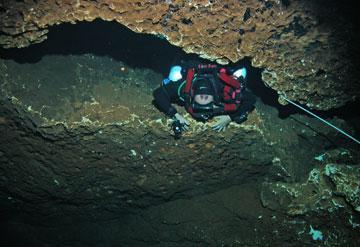 Diver entering Weeki Wachee cave