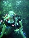 Sunni and Liliana on the famous WHITE BIKINI dive in Roatan Sept. 06