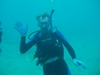 Trombone diver in the Bahamas