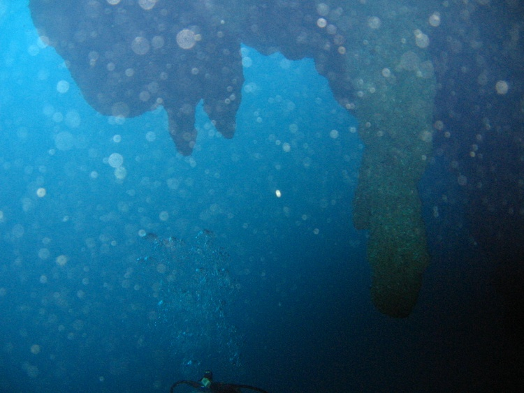 Going under the overhang at 140 feet, Blue Hole, Lighthouse Atoll, BZ