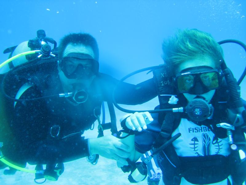 One of the great joys in life. After certifying my son, our first dive together!