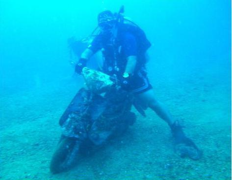 Finally, I was able to combine my love for motorcycle riding and scuba