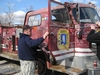me and danny signing the firetruck at mermet springs il.