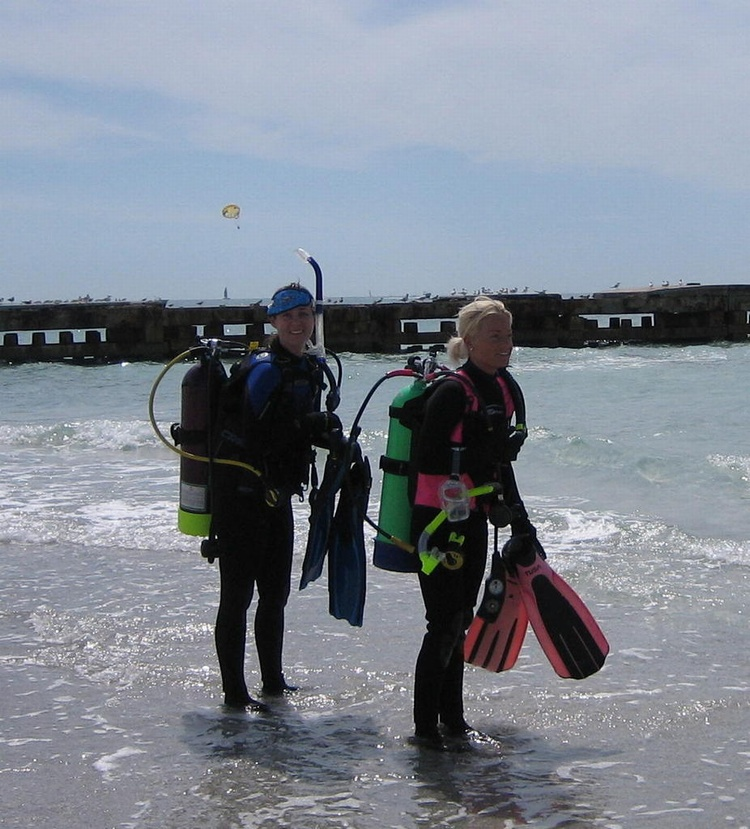 Me going in for my 2nd dive of the day with Stephanie