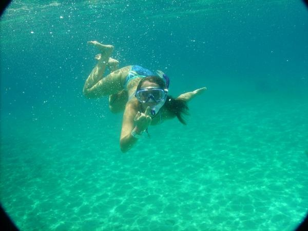 One of my classier moments in Cozumel. The water was about 25 ft. deep here. Viz - endless!