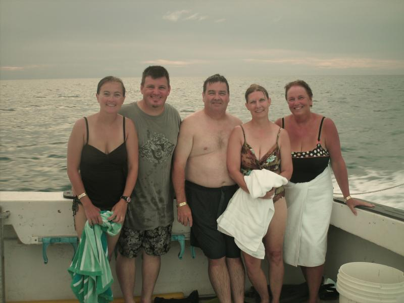 Tennille, Me, Dave, Lisa, and Ellan after diving with dolphins