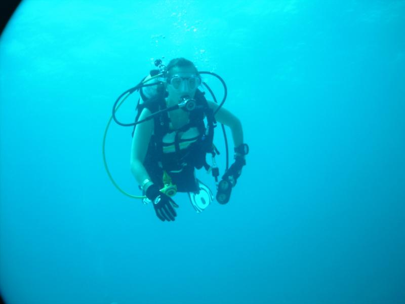 "my beautiful wife diving ""Little Caverns"" - North Bimini"