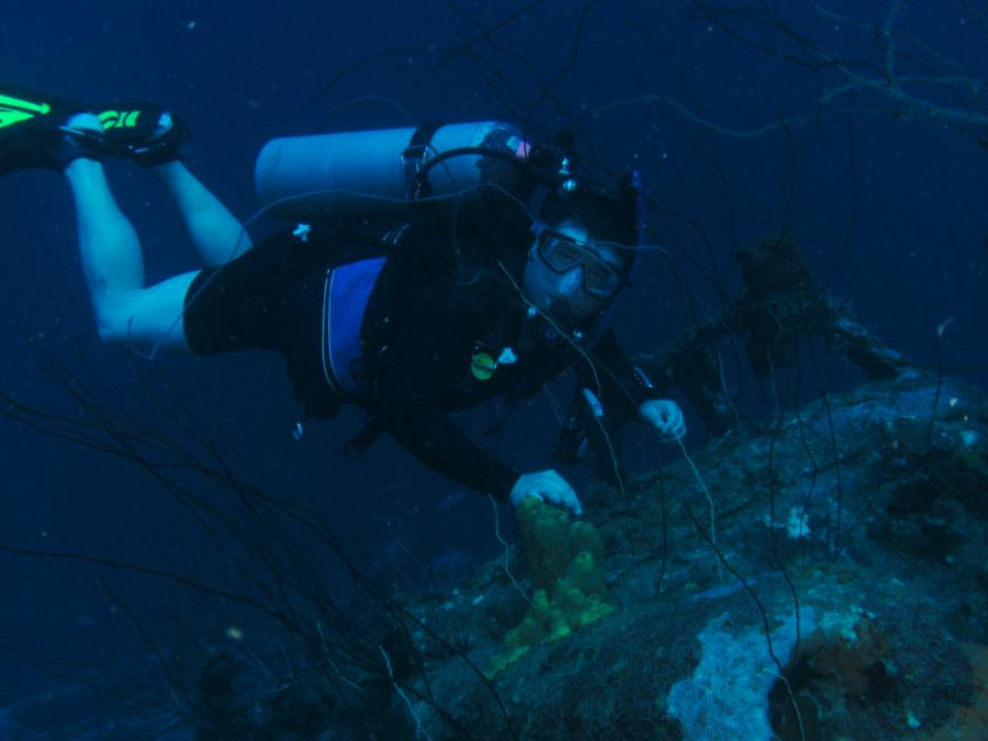 Me on one of the cars at the Car Pile dive site in Curacao