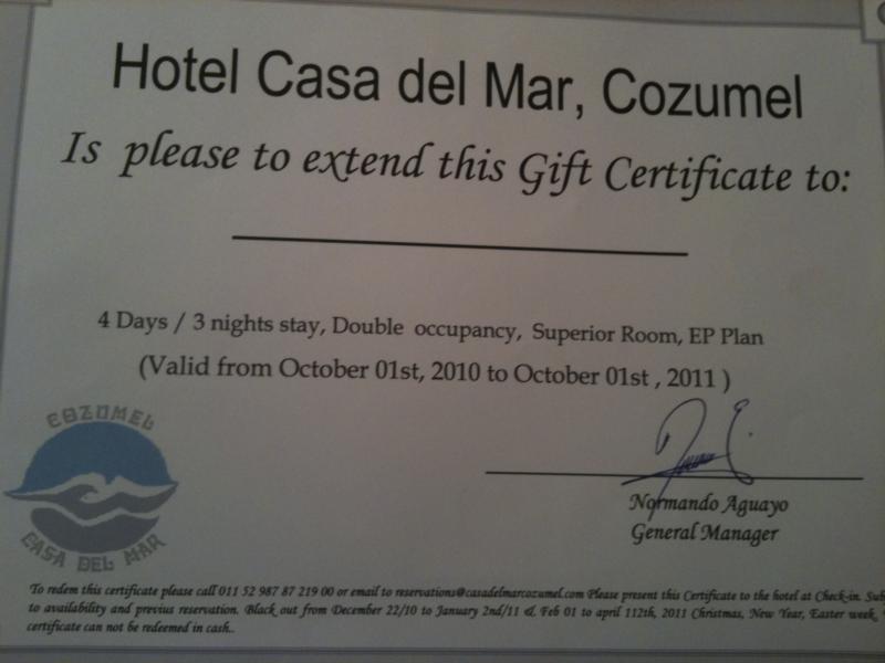 Casa Del Mar Cozumel Mexico Gift Certificate