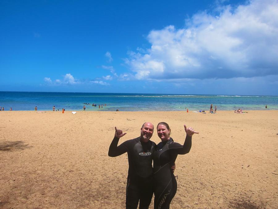 Katie and I at Tunnels beach after our dive