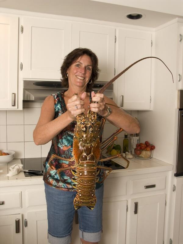 10 lb lobster caught in 70 fsw off Pompano Beach, FL