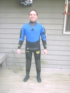 Me wearing my drysuit for cold water diving