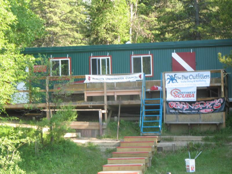 The Wing divers dive shack at Twin lakes