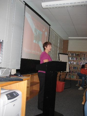Debbie Presenting to Students at Local HS