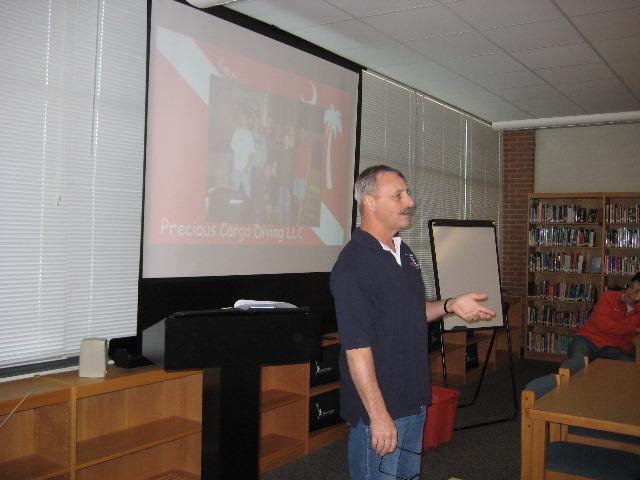 Michael Conducting Presentation at Honea-Path HS