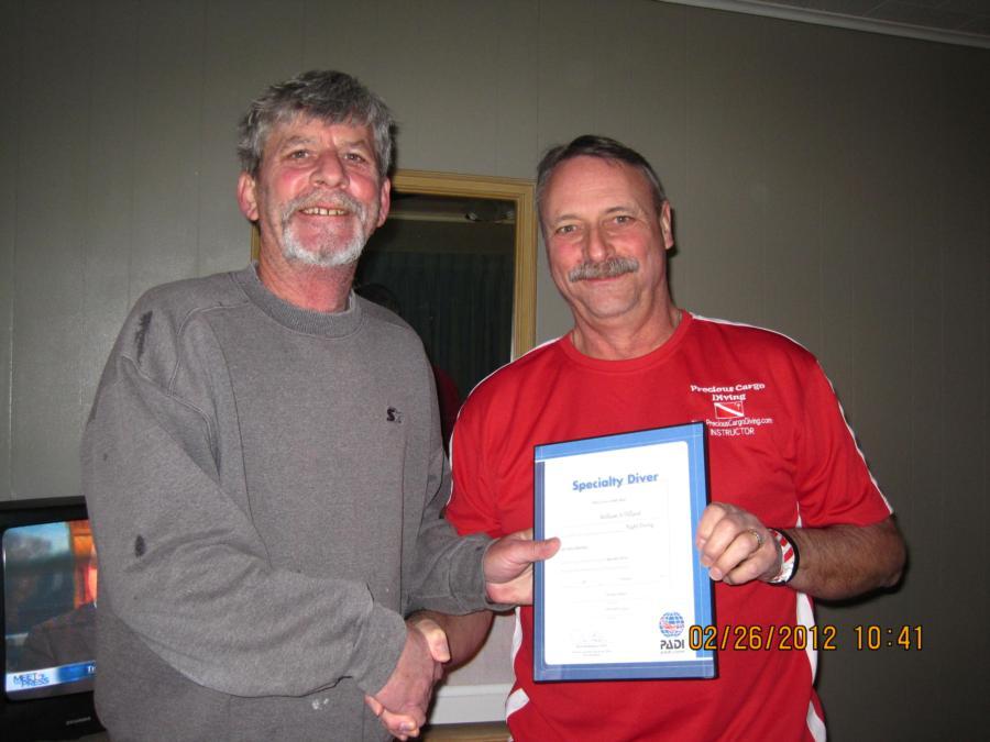 Bill's Night Diver Certificate